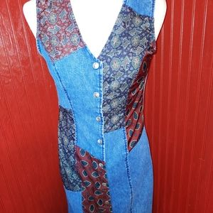 Vintage Paris Blues Denim Patchwork BOHO Dress 7